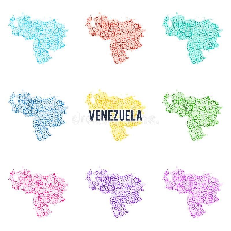 Mapa colorido pontilhado vetor da Venezuela ilustração royalty free
