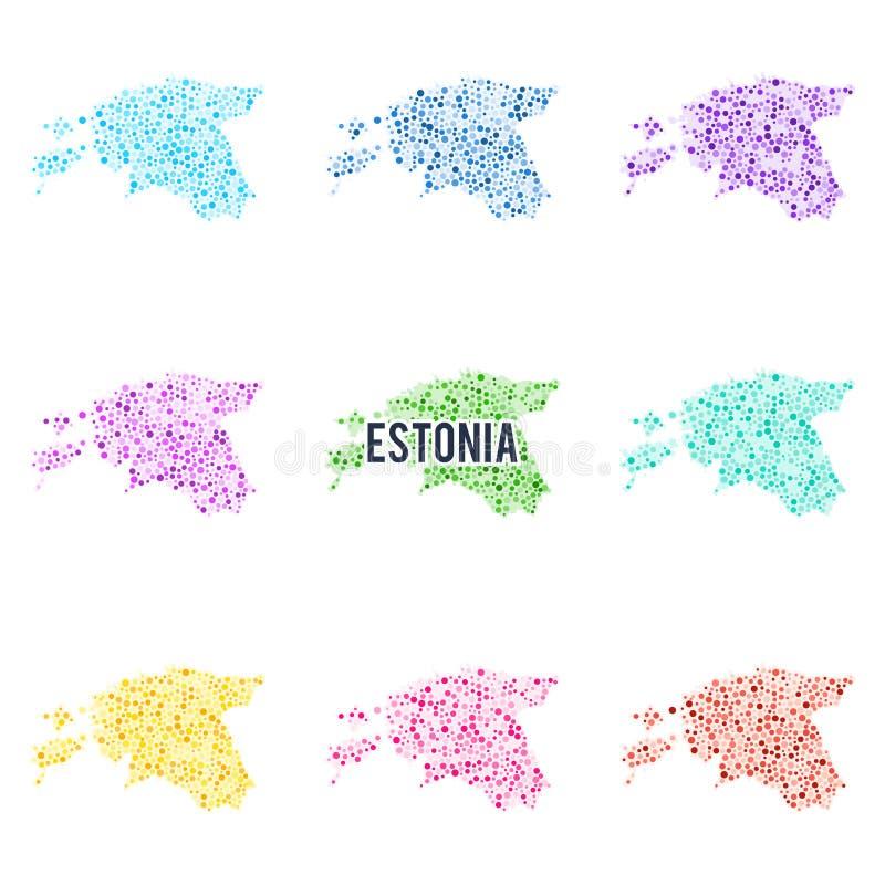 Mapa colorido punteado vector de Estonia libre illustration