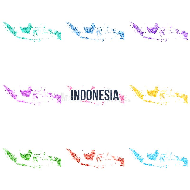 Mapa colorido punteado vector de Indonesia stock de ilustración
