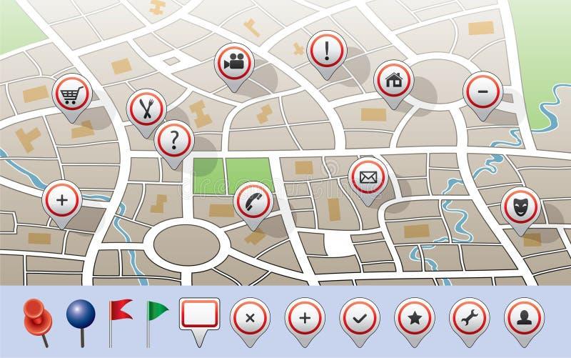 Mapa com ícones do GPS ilustração do vetor