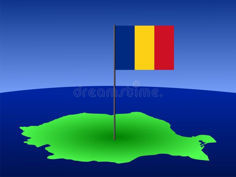 Mapa com bandeira romena ilustração royalty free