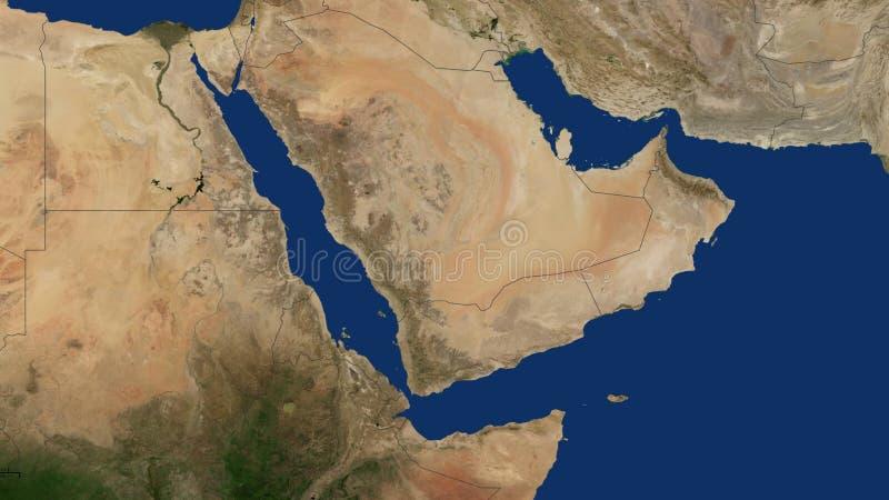 Mapa com beiras, Arábia Saudita de Iémen, Omã, Catar, emirados, Mar Vermelho, Irã, Golfo Pérsico, golfo árabe, Iraque, Jordânia imagem de stock