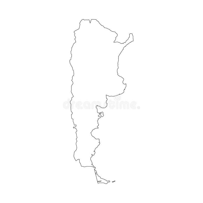 Mapa com beiras do país, esboço preto fino de Argentina no fundo branco Mapa detalhado alto do vetor com condados/regiões/estados ilustração royalty free