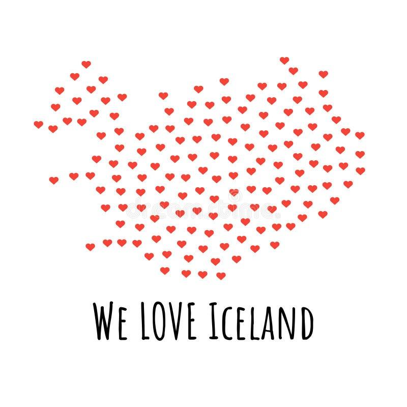 Mapa com corações vermelhos - símbolo de Islândia do amor abstraia o fundo ilustração stock
