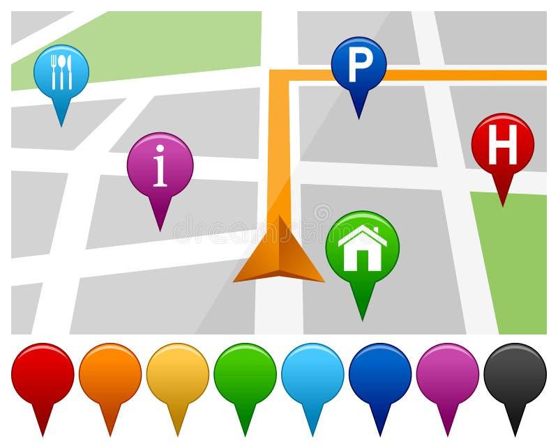 Mapa com pinos coloridos ilustração stock