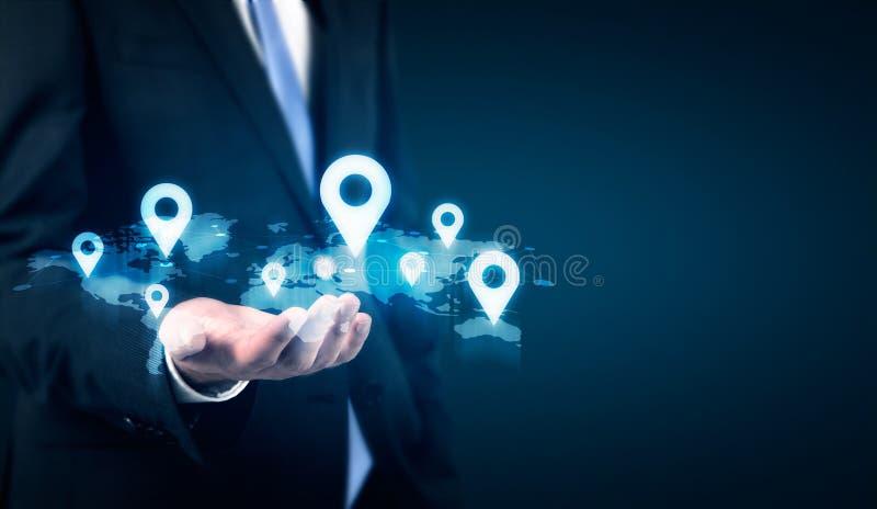 Mapa com pinos do lugar imagem de stock royalty free