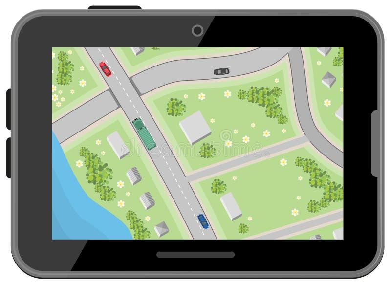 Mapa com sentidos de condução Vista superior Tabuleta preta de Digitas Navegação do carro ilustração stock