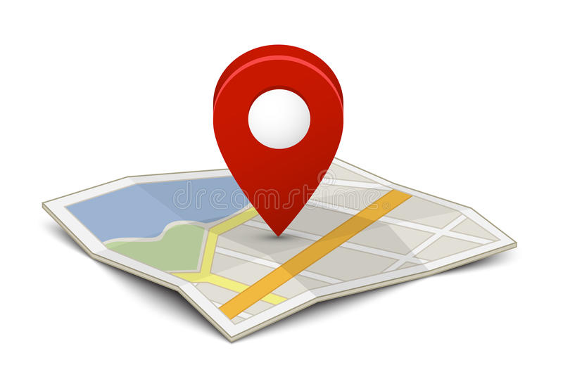 Mapa com um pino ilustração royalty free