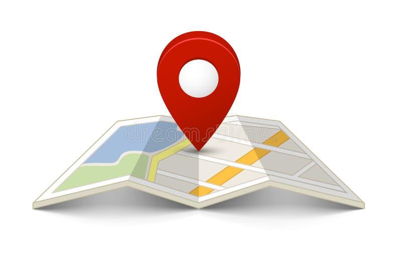 Mapa com um pino ilustração stock