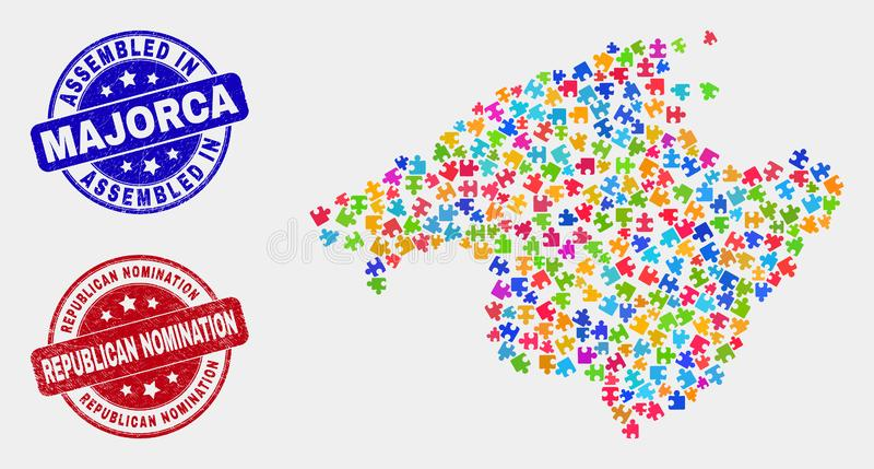 Mapa componente de Majorca y apenar sellos montados y republicanos del nombramiento libre illustration