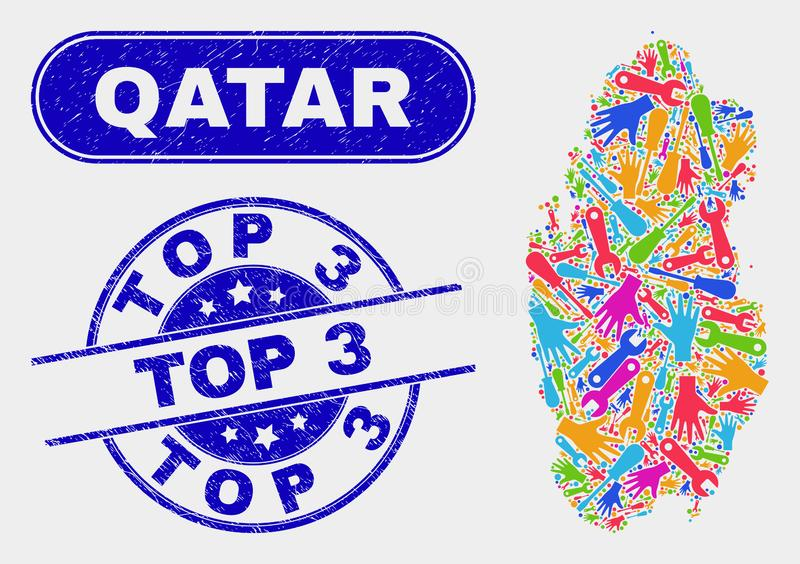 Mapa componente de Qatar y 3 sellos superiores rasguñados libre illustration