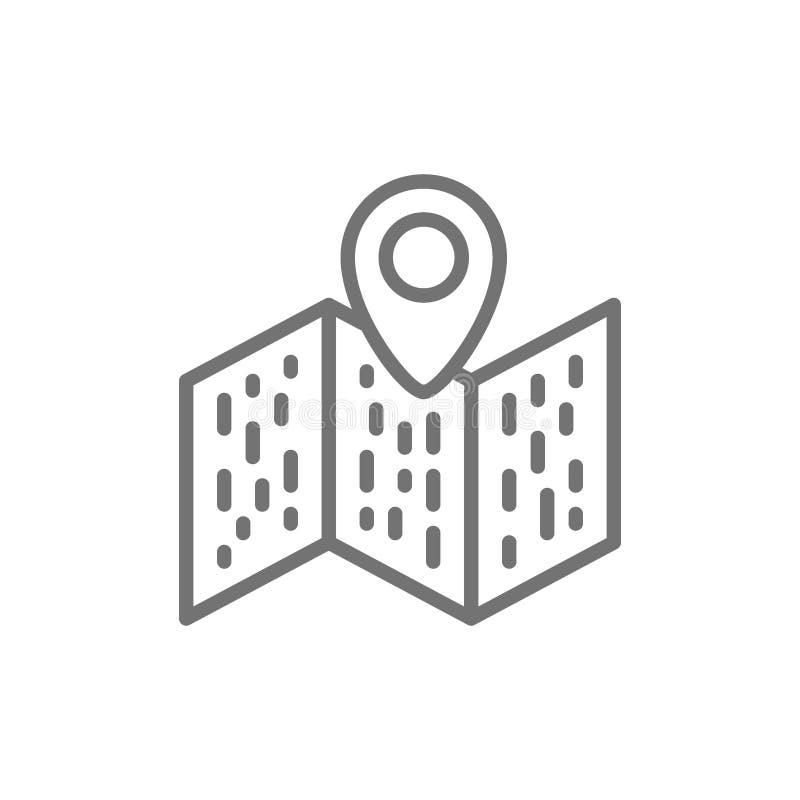 Mapa con el indicador, navegación, línea icono del perno de la ubicación libre illustration