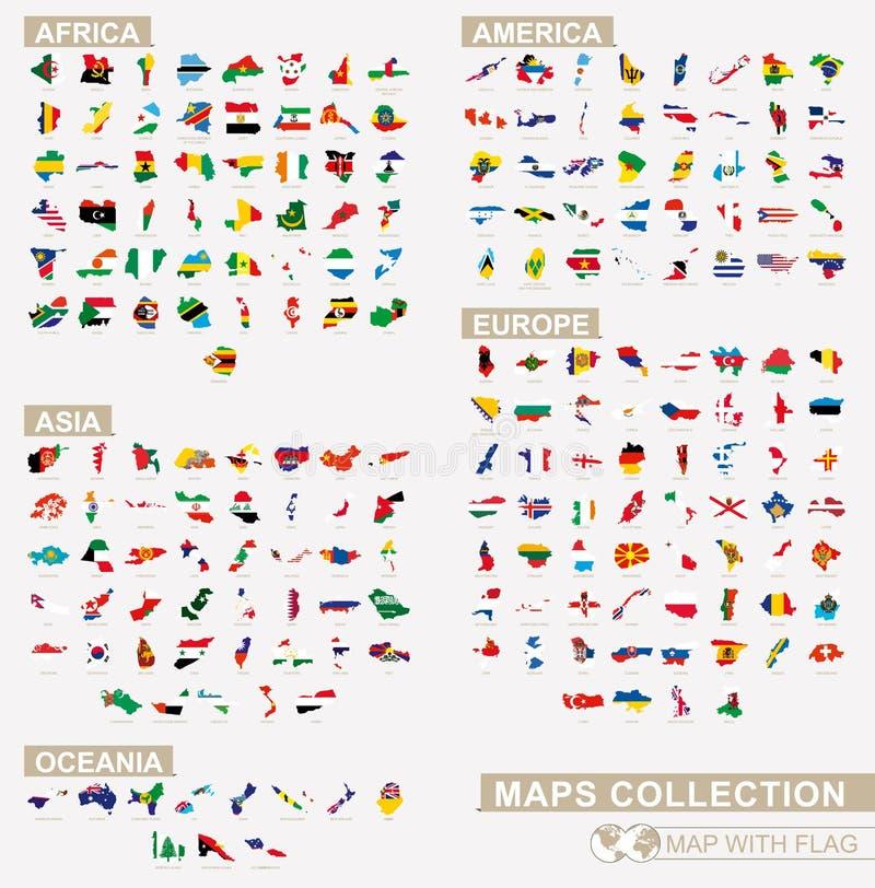 Mapa con la colección asiática, africana, Oceanian, europea y americana de la bandera de los países ilustración del vector