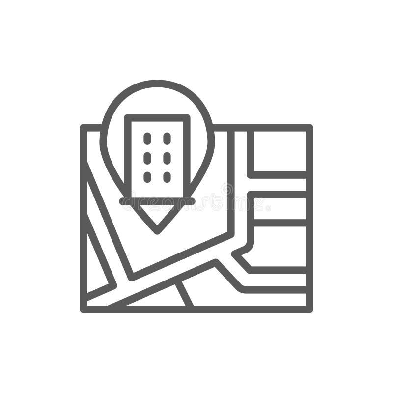 Mapa con la l?nea icono de la marca del perno del hotel libre illustration