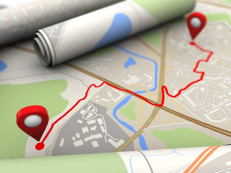 mapa con la ruta ilustración del vector