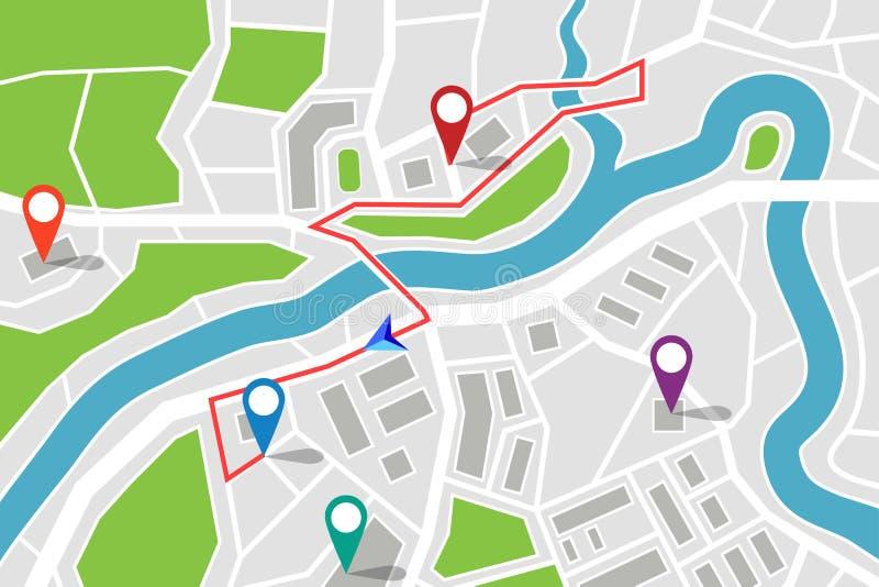 Mapa con la ruta y los indicadores de los gps ilustración del vector