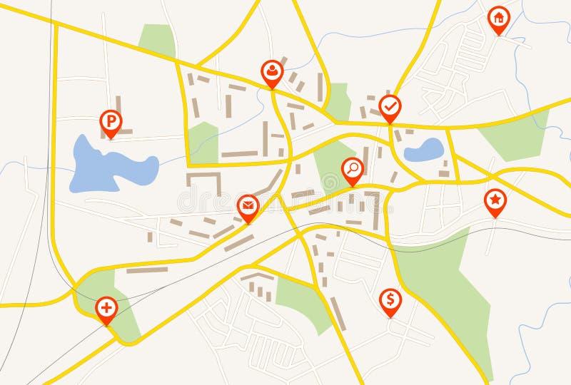 Mapa con los indicadores rojos del perno ilustración del vector