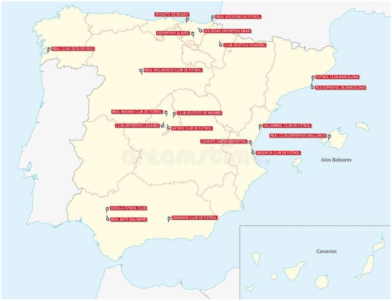 Mapa con los veinte clubs de la primera liga de fútbol española 2019 2020 libre illustration