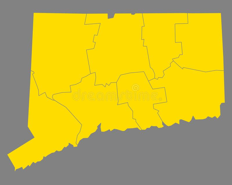 Mapa Connecticut ilustracji