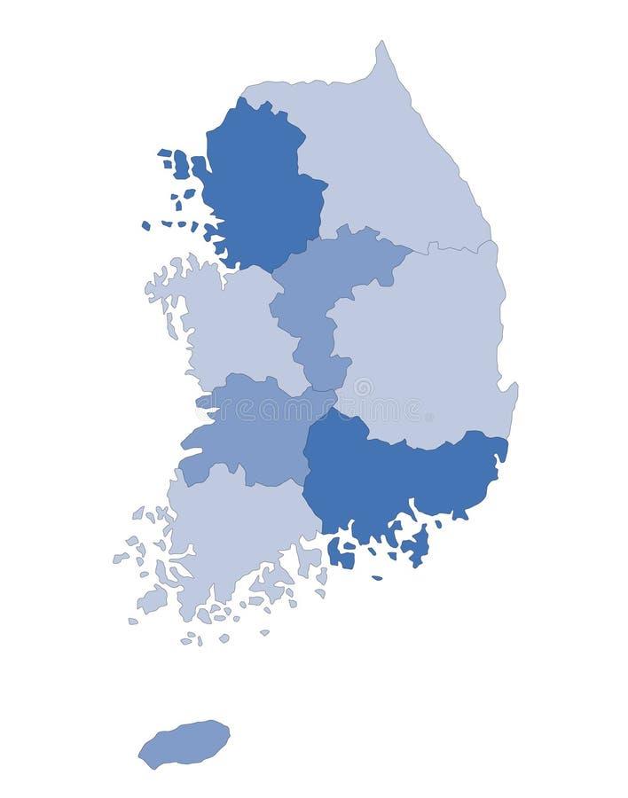 Mapa Coreia do Sul ilustração stock