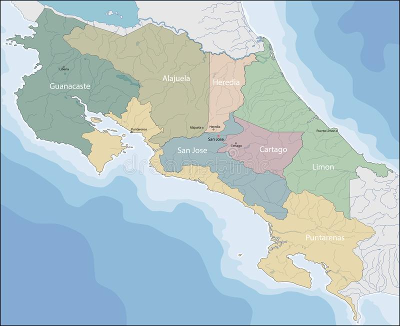 Mapa Costa Rica royalty ilustracja