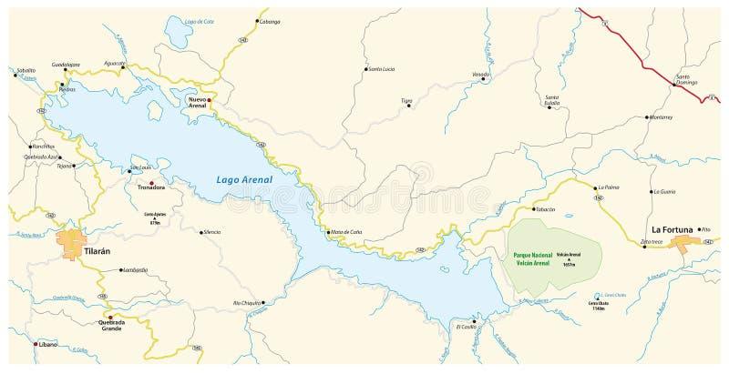 Mapa Costa rican jeziorny Arenal ilustracji