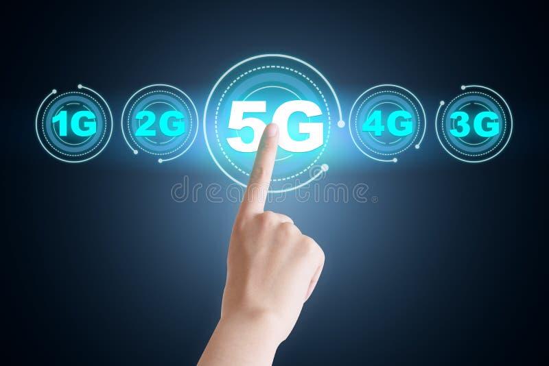 mapa creativo del concepto del desarrollo 5G, datos móviles inalámbricos de alta velocidad stock de ilustración