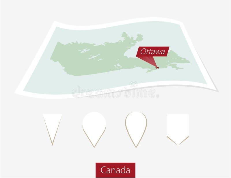 Mapa curvado do papel de Canadá com capital Ottawa em Gray Backgroun ilustração do vetor