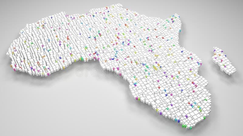 mapa 3D branco de África ilustração royalty free