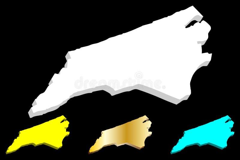 mapa 3D de Carolina del Norte stock de ilustración