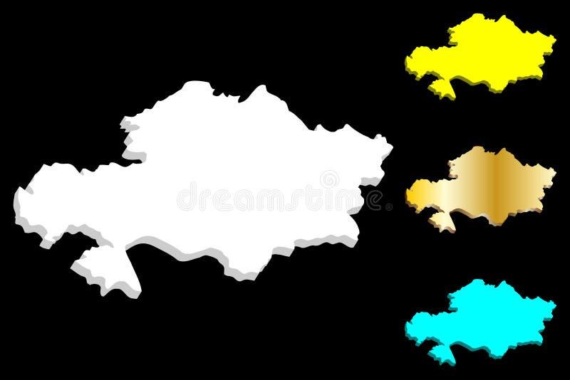 mapa 3D de Cazaquistão ilustração do vetor