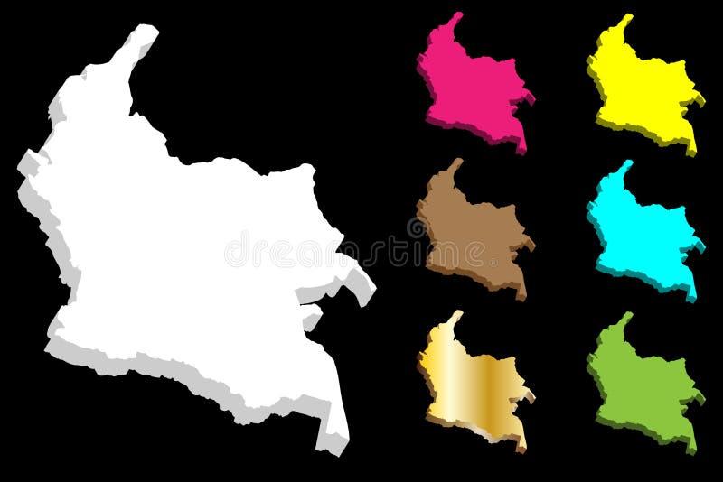 mapa 3D de Colômbia ilustração do vetor