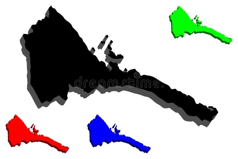 mapa 3D de Eritrea libre illustration