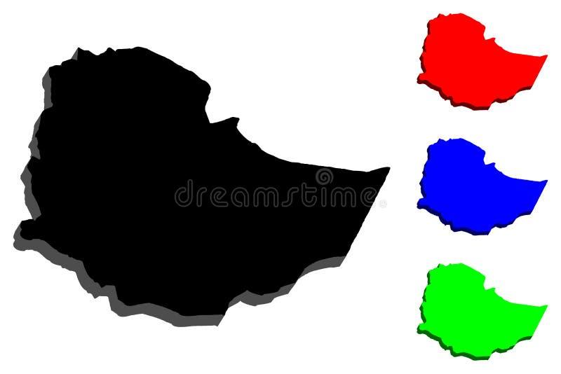 mapa 3D de Etiopía stock de ilustración