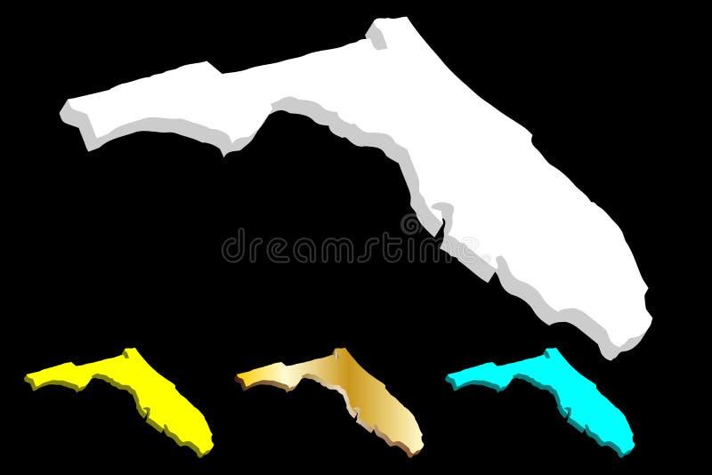 mapa 3D de Florida ilustração royalty free