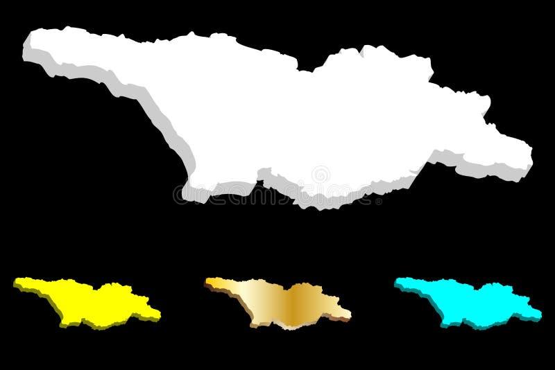 mapa 3D de Georgia stock de ilustración