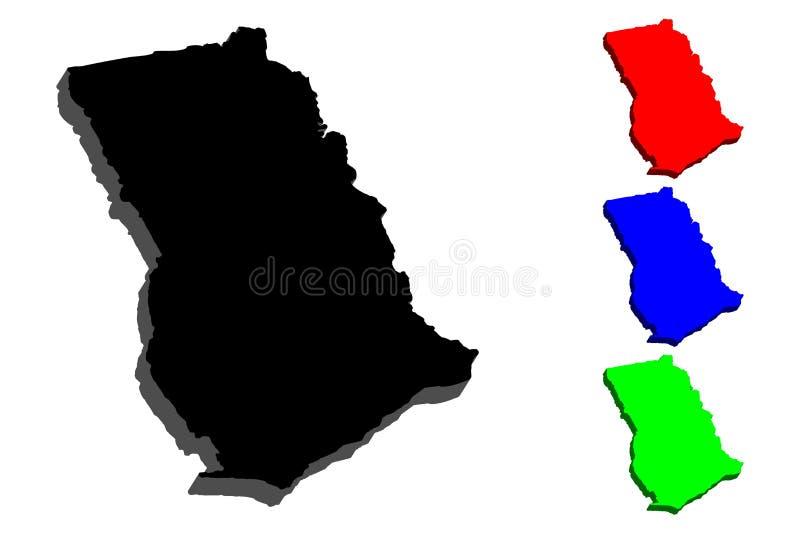 mapa 3D de Ghana ilustración del vector