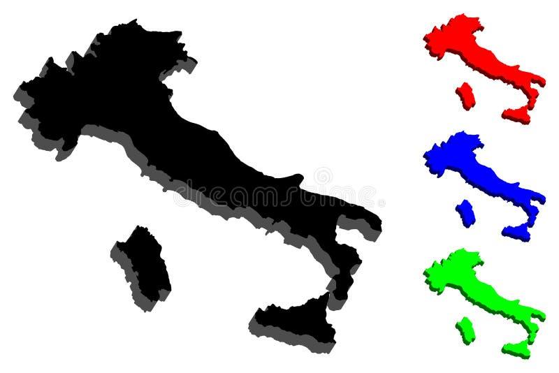 mapa 3d de Italia ilustración del vector