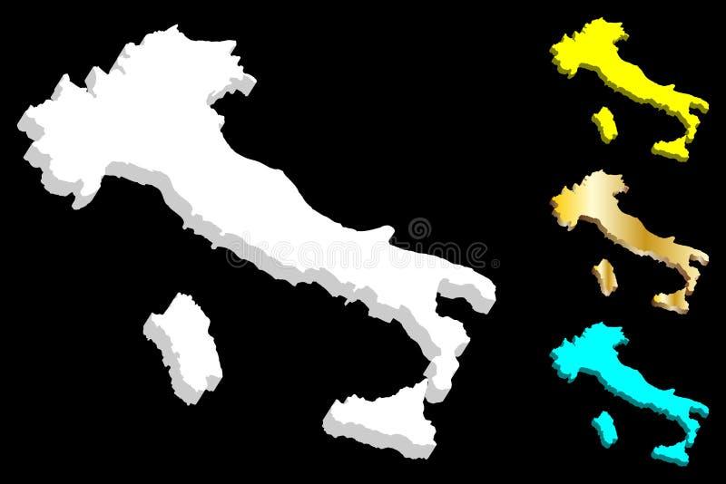 mapa 3d de Italia stock de ilustración