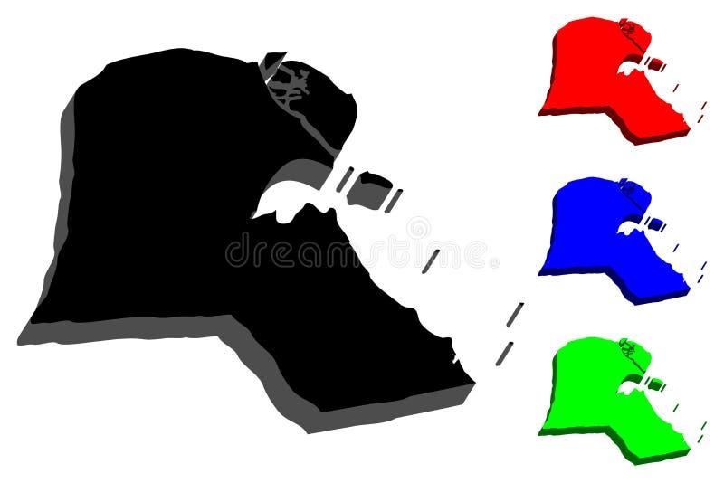 mapa 3D de Kuwait stock de ilustración