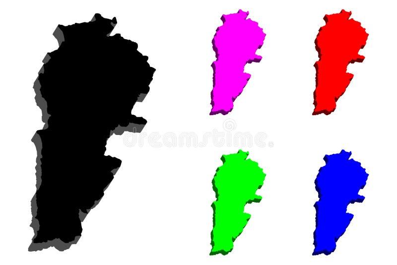 mapa 3D de Líbano stock de ilustración