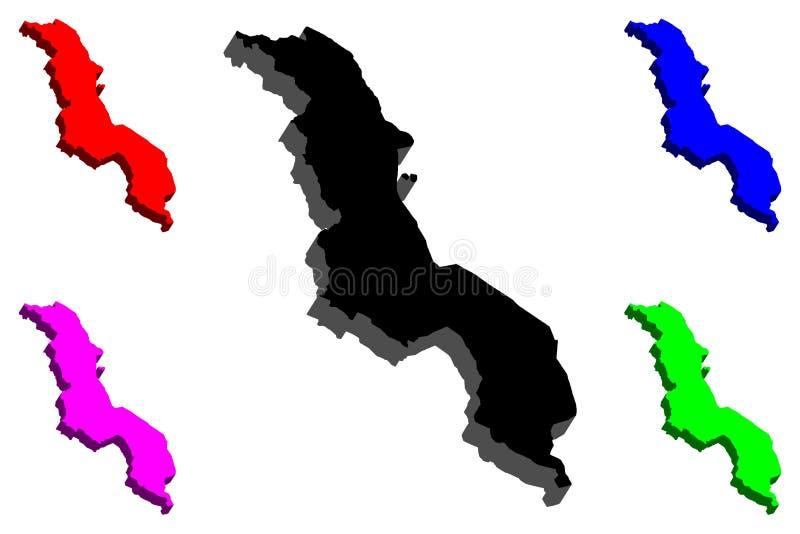 mapa 3D de Malawi stock de ilustración