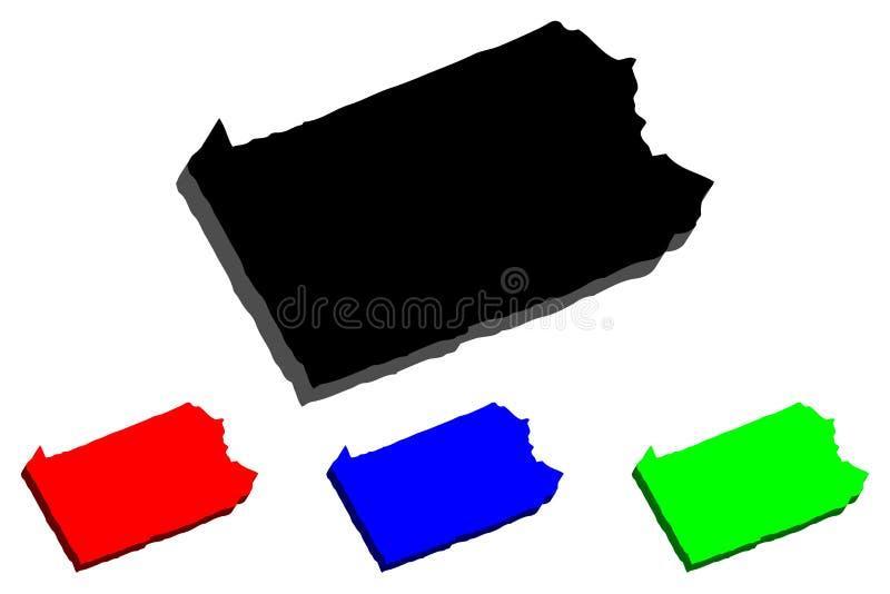 mapa 3D de Pensilvânia ilustração royalty free