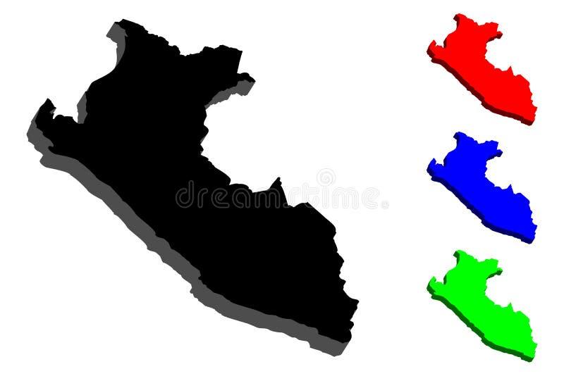 mapa 3D de Perú stock de ilustración