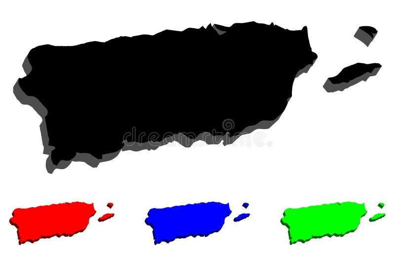mapa 3D de Porto Rico ilustração stock