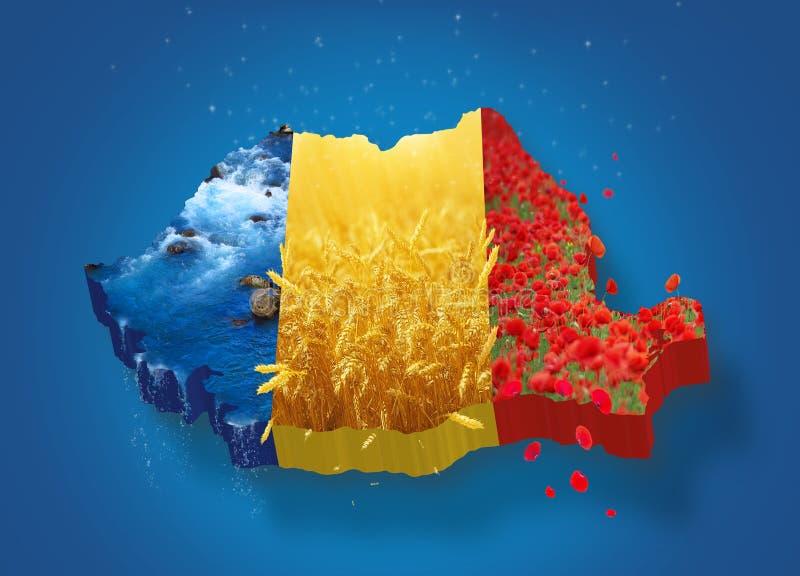 Mapa 3D de Romênia ilustração royalty free