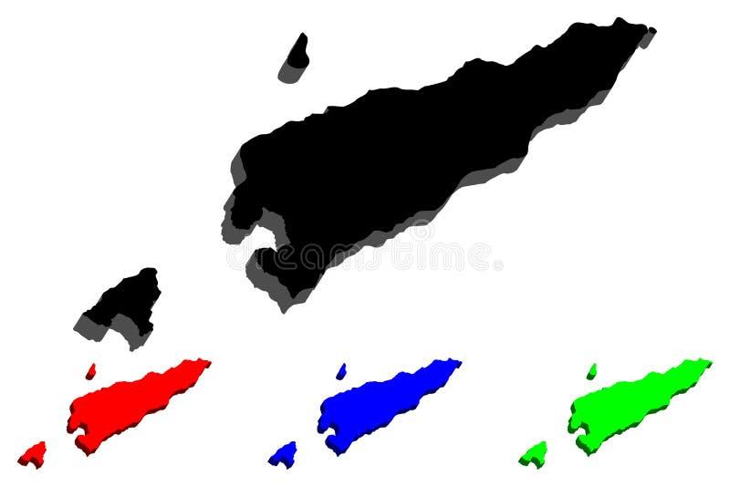 mapa 3D de Timor-Leste ilustração royalty free