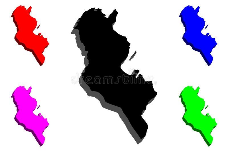 mapa 3D de Tunísia ilustração stock