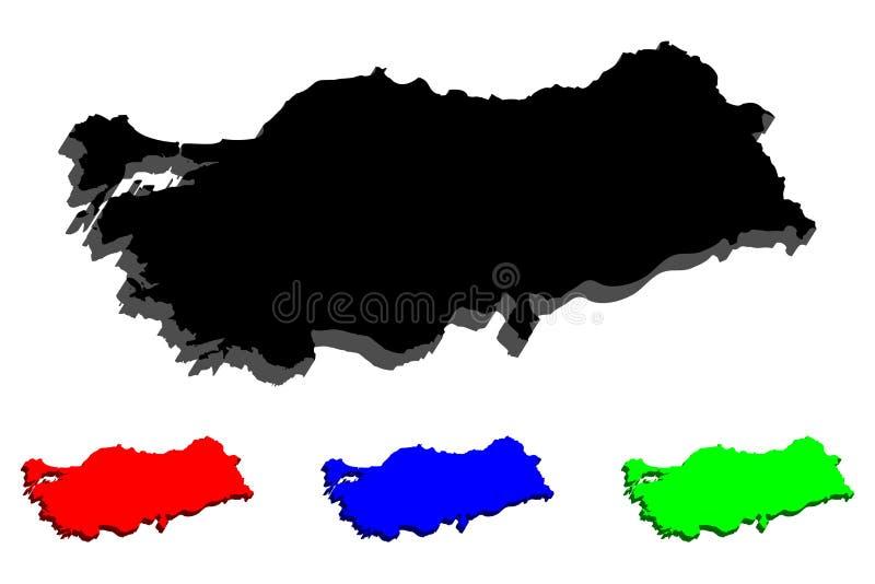 mapa 3d de Turquia ilustração do vetor