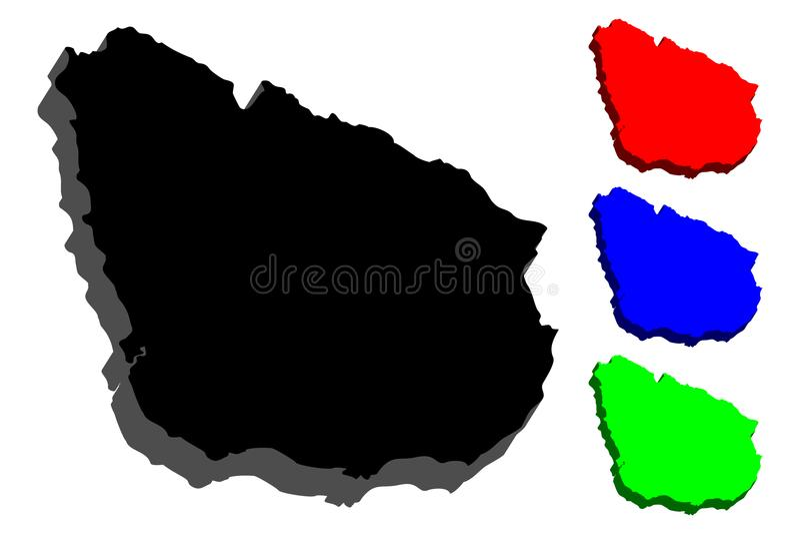 mapa 3D de Uruguay ilustración del vector